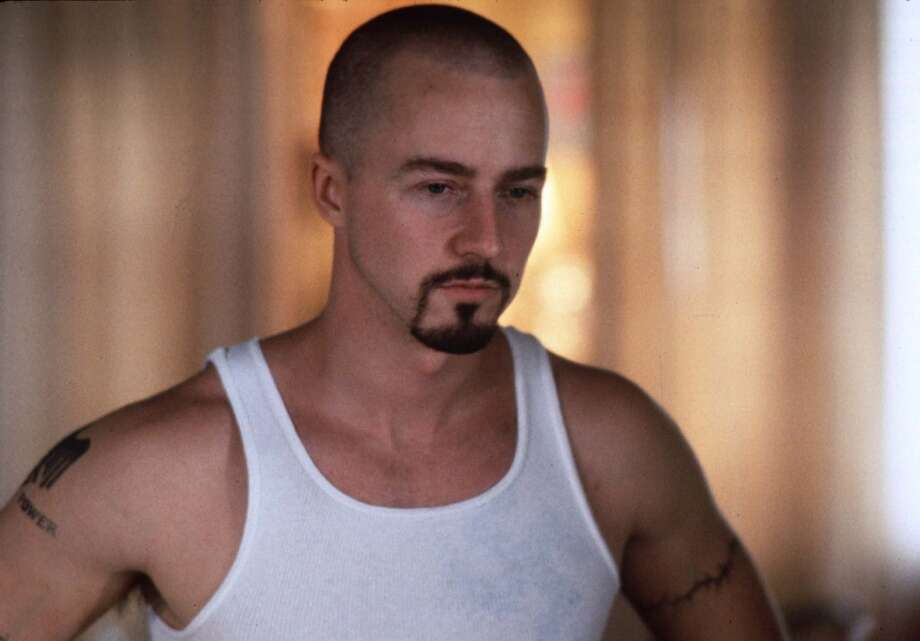 "Actor Edward Norton, shown in a scene from "" American History X.""  For the sidewalk scene. Photo: HO"