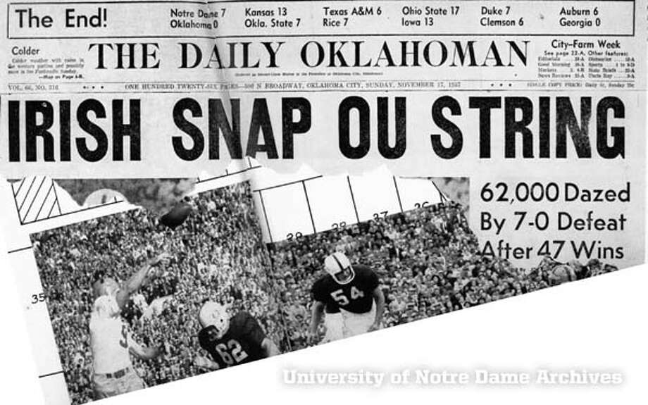 The Sooners have routinely gone bust against Notre Dame.  Just one win all-time in nine tries. Photo: University Of Notre Dame Archives, University Of Notre Dame Archive / The Daily Oklahoman