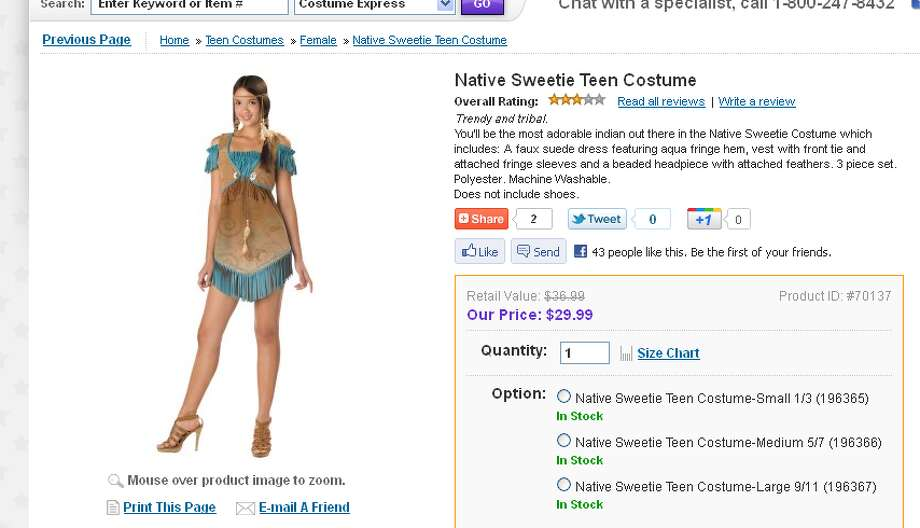 "The ""Native Sweetie"" costume combines cultural insensitivity with a lack of pants."