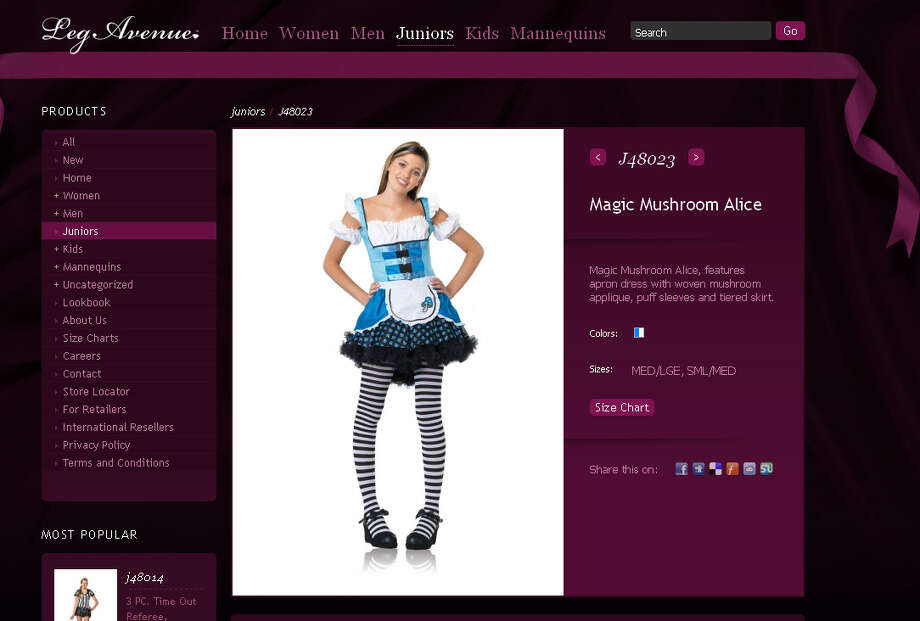 "This costume combines a ""sexy"" Alice in Wonderland costume with a drug reference."
