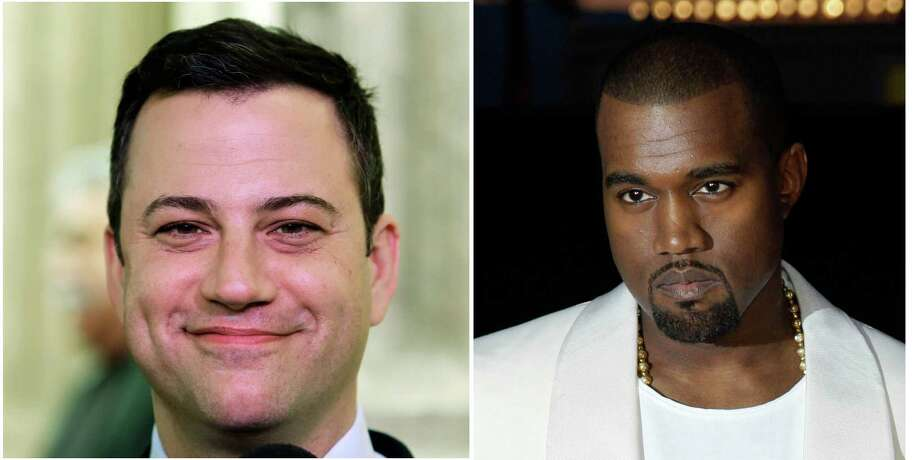 This combo of photos shows Jimmy Kimmel seen in a Jan. 25, 1013 file photo left and Kanye West seen in a May 23, 2012 file photo. Kimmel and West either are engaged in a bitter feud or a heck of a parody.Keep clicking to see other Twitter feuds that got way out of hand. Photo: File