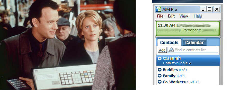 "AOL reaches its peak with a starring role in the movie ""You've Got Mail"" to a B-list instant messager. Photo: File Photos"
