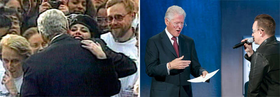 Bill Clinton went from defending himself against Monica Lewinsky allegations to dealing with Bono imitations. Photo: MARK LENNIHAN, File Photos