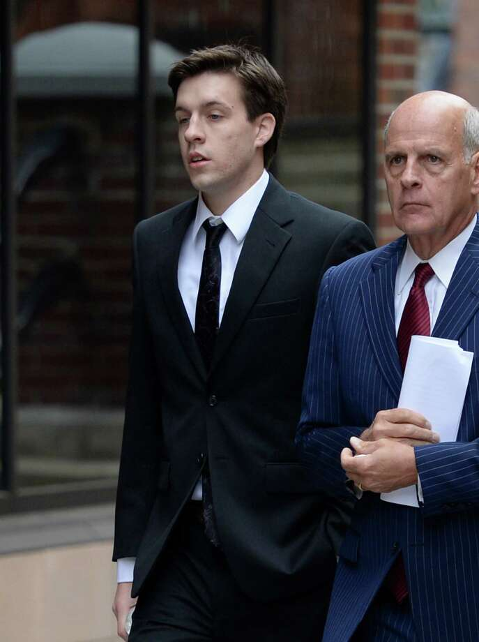 Dennis Drue, left accompanied by his defense attorney Steve Coffey enters Saratoga County Courthouse where he pleaded guilty Sept. 27, 2013, in Ballston Spa, N.Y.      (Skip Dickstein/Times Union) Photo: SKIP DICKSTEIN / 00024028A