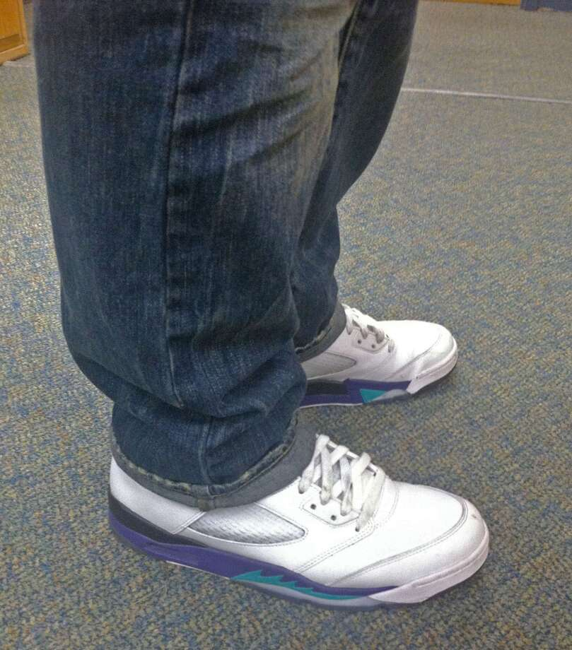 "Michael DiCocco, 17, wears the Retro Air Jordan 5 ""Grapes."" Photo: Lucas Curtin"