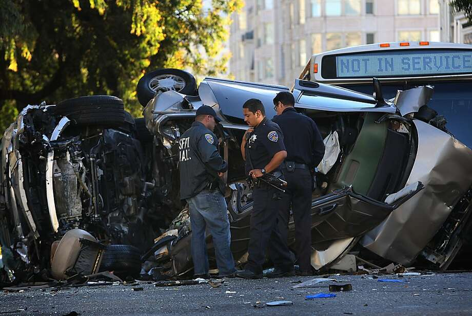 A teenager was killed and two others critically injured in a Pacific Heights crash on Pine at Gough streets at around 7:00am in San Francisco, California, on Friday, September 27, 2013.  Police Sgt. Danielle Newman said a witness reported the responsible driver as driving 80 miles an hour into a minivan stopped at a red light. Photo: Liz Hafalia, The Chronicle