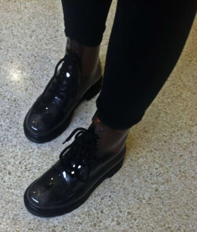 Sarah Ramage, 16, wears black, see-through, rubber boots with leggings. Photo: Lucas Curtin