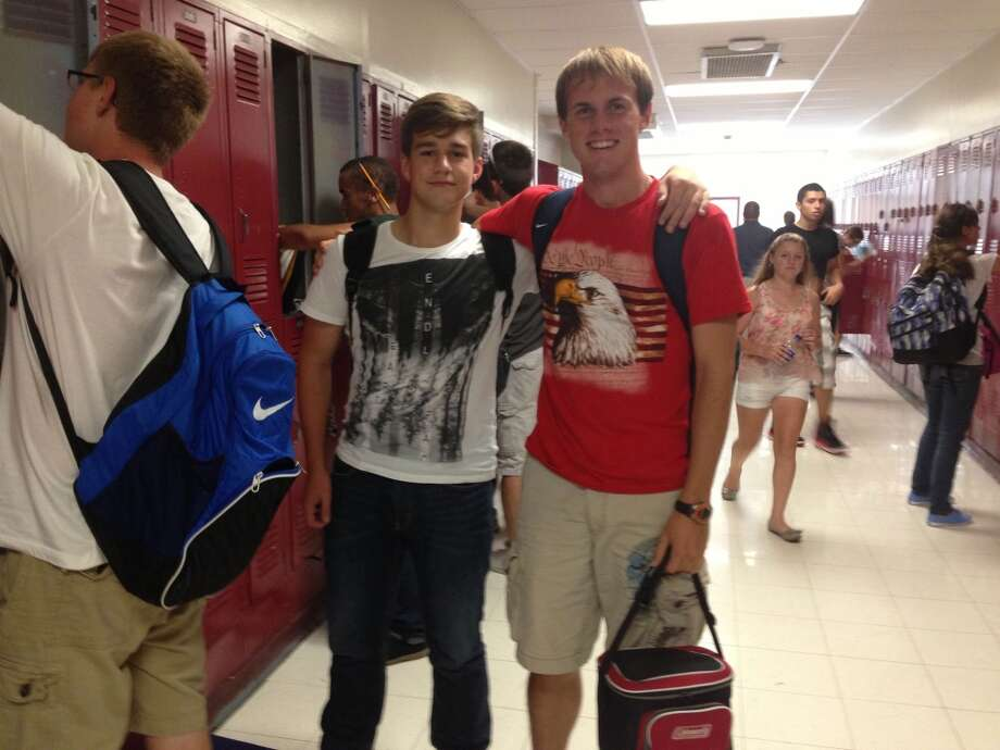 James Lounsbury, 16 and Lukus Becker, 16 at Berne-Knox-Westerlo, wearing different options of graphic t-shirts. Photo: Audrey Goodemote