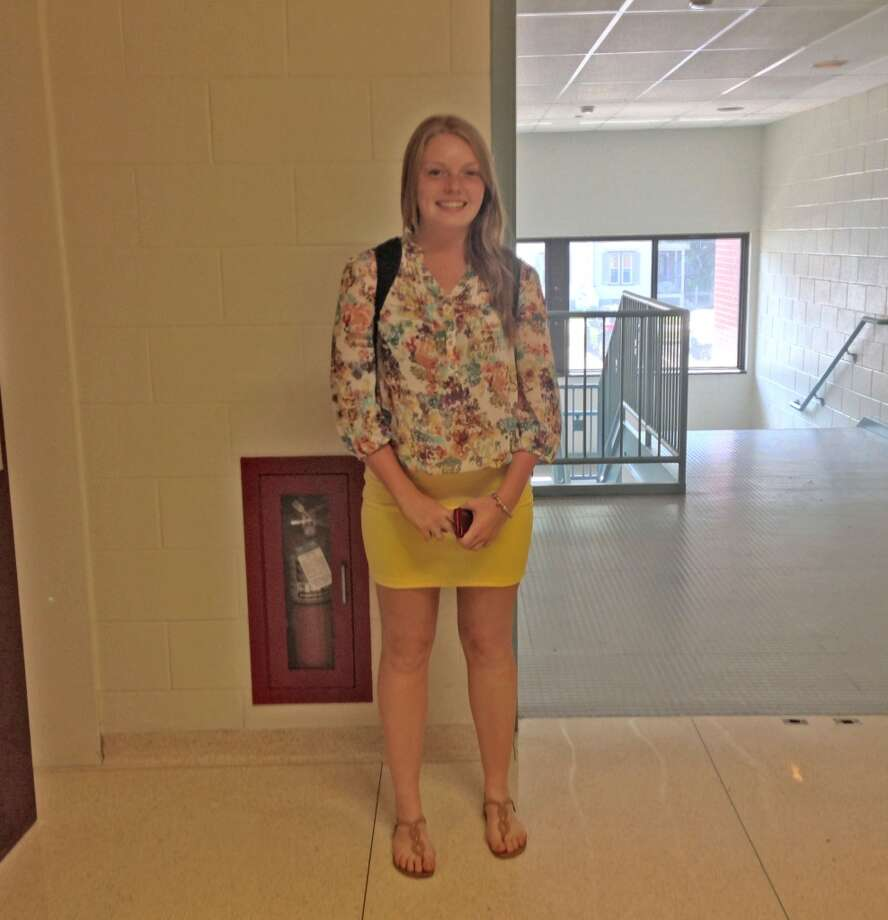 Caleigh-Shea Murphy, 16 at Berne-Knox-Westerlo wearing a floral button up and a vibrant yellow pencil skirt. Photo: Audrey Goodemote