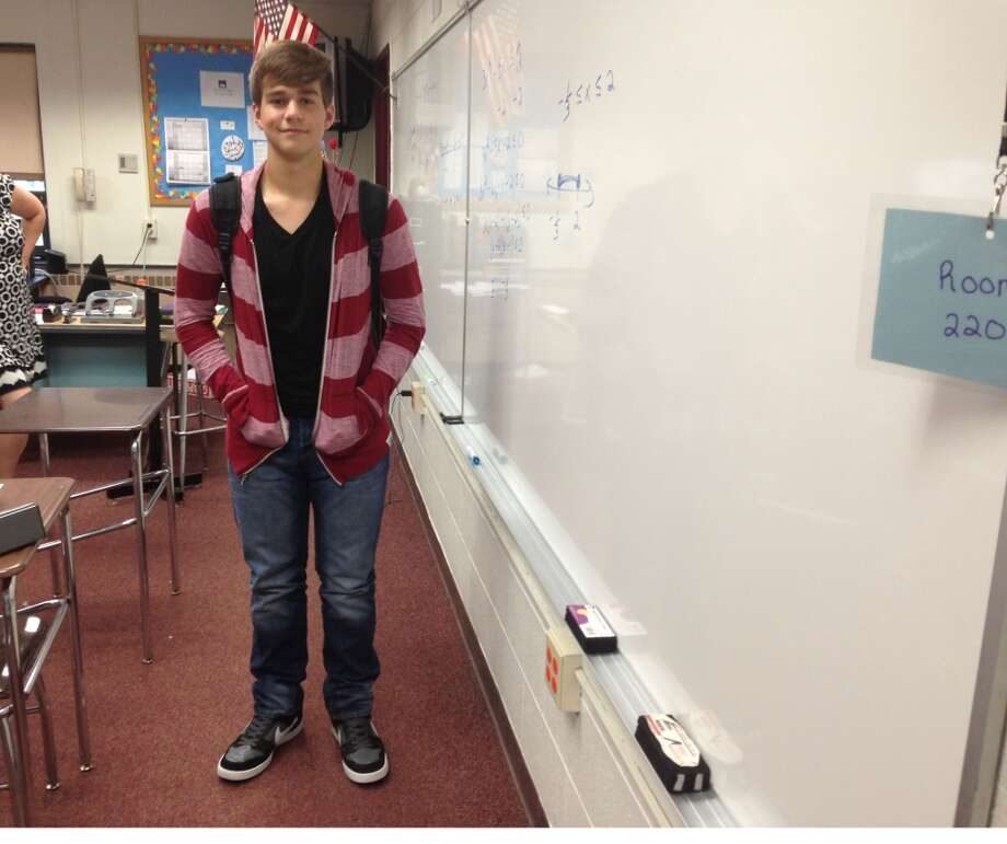 James Lounsbury, 16 at Berne-Knox-Westerlo wearing a striped cardigan-esque zip up jacket. Photo: Audrey Goodemote