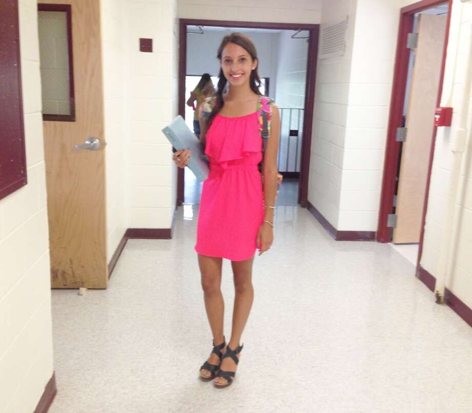 Nicole Sherwin, 15 at Berne-Knox-Westerlo wearing a hot pink mini-dress and open-toed wedges. Photo: Audrey Goodemote