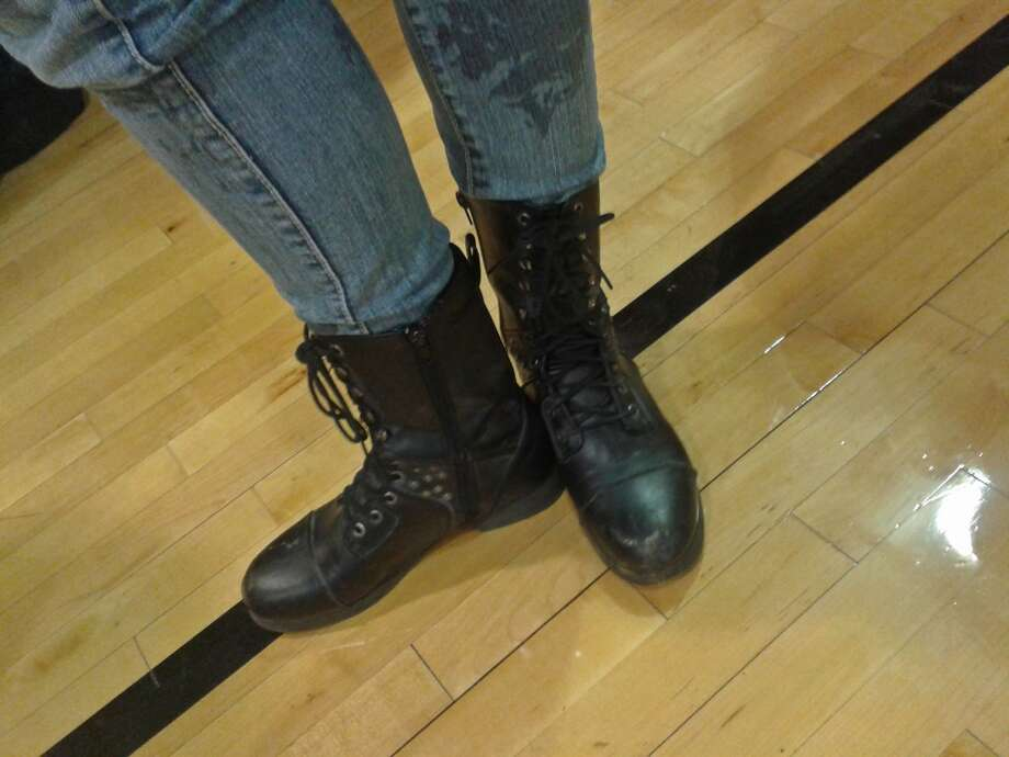A junior at Middleburgh High School, Brittany Bodmer wears black leather combat boots and printed skinny jeans. Photo: Chloe Snyder