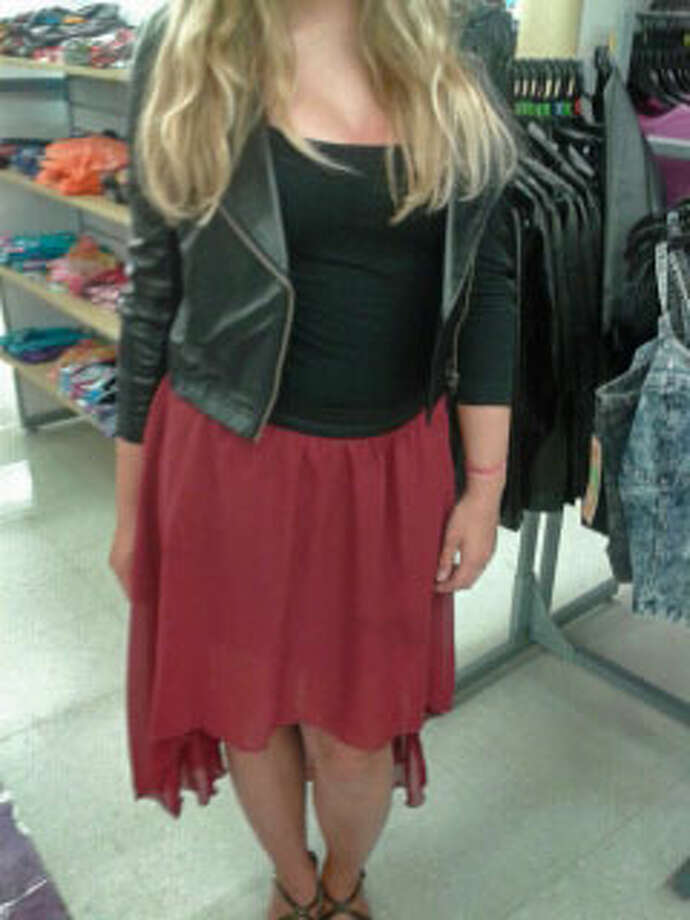 Kelly Bernard, a junior at Middleburgh, wears a deep red high-low skirt and a black leather jacket. Photo: Chloe Snyder