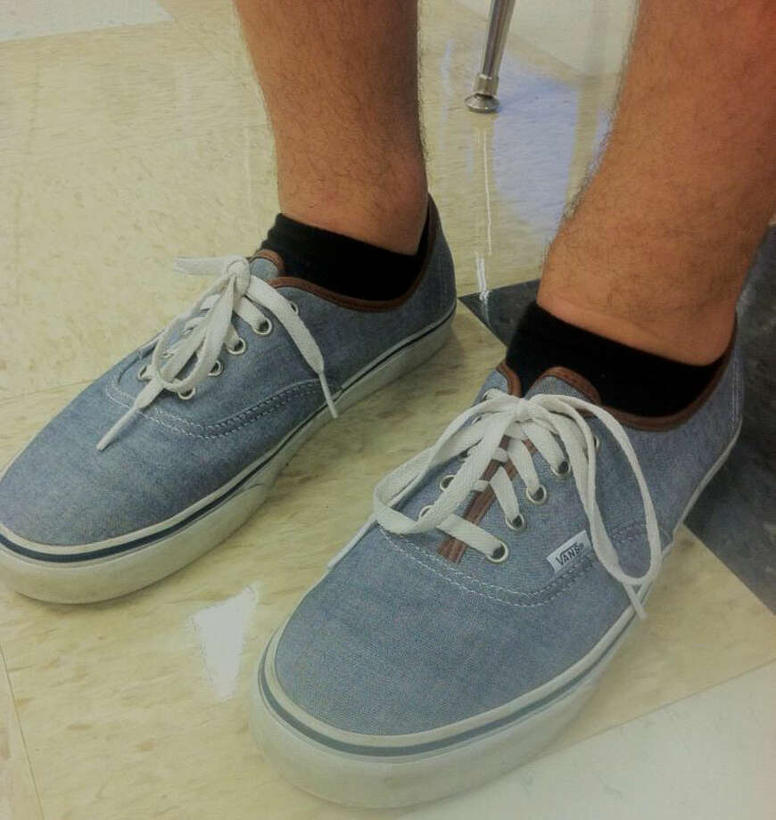 Alex Chiaravalle, a senior at Schalmont High School, is wearing blue vans, a low-cut sneaker popular for boys and girls. Photo: Rachel Bahor