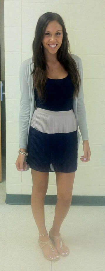 Sabrina Floccuzio, a Schalmont junior, is wearing a navy blue cami paired with a  tan and navy blue skirt. This is the perfect color combination for fall! Photo: Rachel Bahor