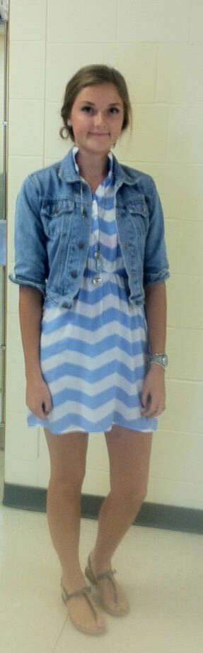 Carlyn Beaver, a junior at Schalmont High School sports a denim jacket, one of falls biggest trends! She paired her jacket with a chevron print dress, a print that's filling the stores this year. Photo: Rachel Bahor