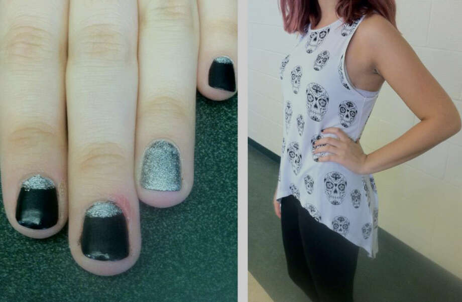 A senior at Schalmont High School, Haley Fallon is wearing a high to low skull printed tank top and has her ring finger painted an accent color. Photo: Rachel Bahor