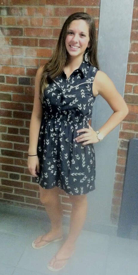 Julianna Mastroianni, a Schalmont senior, is wearing a button down dress with an arrow pattern. This casual look is perfect for a day at school! Photo: Rachel Bahor