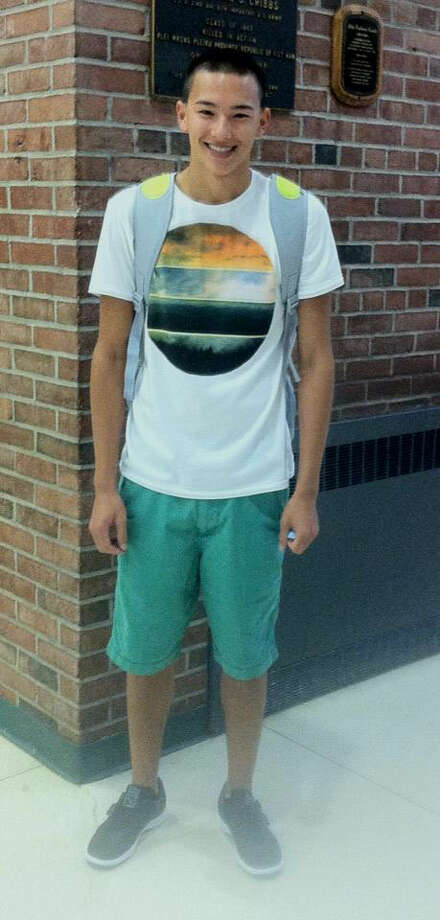 Matt Fisher, a senior at Schalmont, is wearing a graphic tee paired with colored shorts. Photo: Rachel Bahor