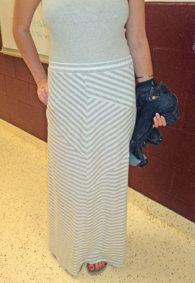 Abigail Schrader, 17, a senior at Berne-Knox-Westerlo, wearing a patterned Maxi skirt. Photo: Ashley Bellinger