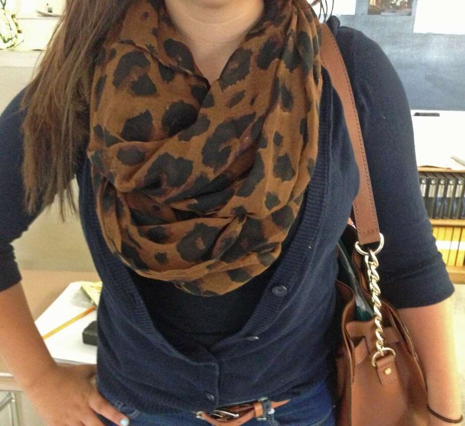 Julie Dean, a senior at Berne-Knox-Westerlo High school, accessorizes with an animal print scarf. Photo: Ashley Bellinger