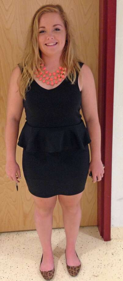 Kaitlyn Curvin, a sophomore at Berne-Knox-Westerlo High School wearing a black peplum dress. Photo: Ashley Bellinger