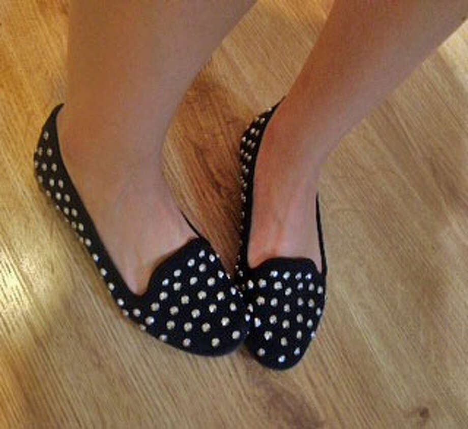Black Nine West studded flats can be paired with many fall outfits. Photo: Courtney Suitto
