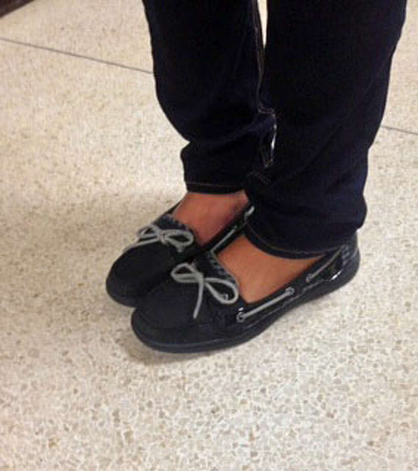 Julianne Moran, a Schalmont senior, is wearing Sperry's with skinny jeans. Photo: Courtney Suitto