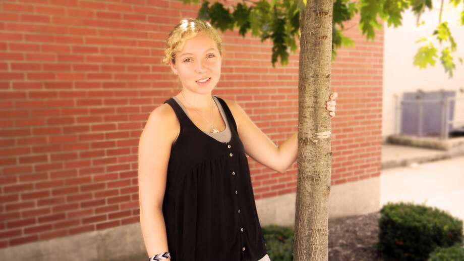 Courtney Mooney, 17, another student in my Journalism class, and a good friend of mine, graciously posed for this photo, wearing a fashionable shirt and shell necklace. Photo: Vince Marcellino