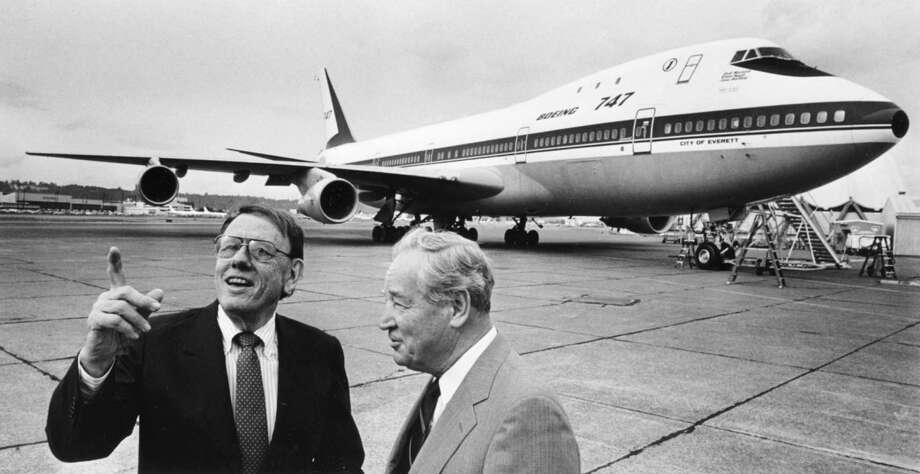 Malcolm Stamper, left, who was the first leader of the 747 program and later Boeing's president,  and 747 Chief Engineer Joe Sutter show off the first Boeing 747 on Sept. 30, 1988. Photo: PHIL H. WEBBER