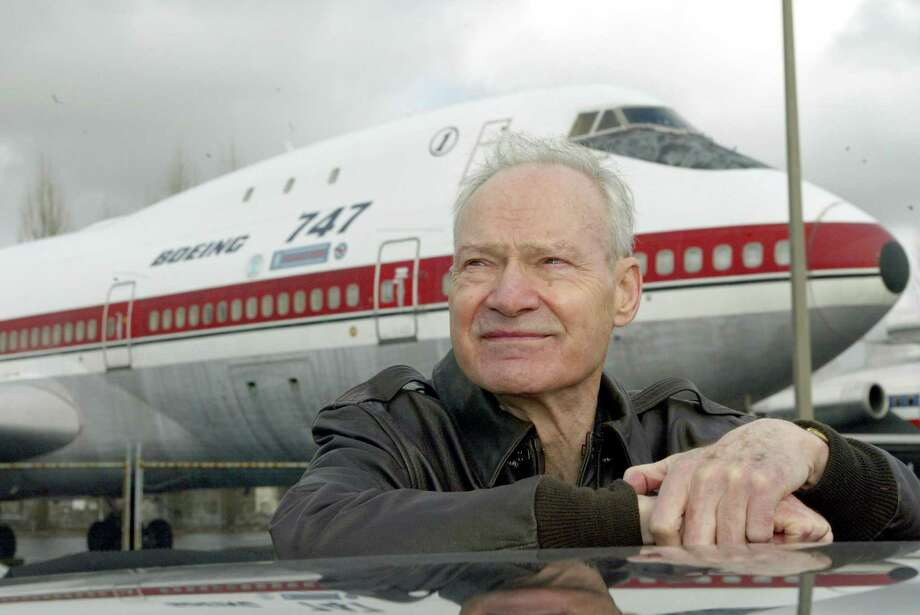Brien Wygle was co-pilot on the first 747 flight in 1969. Here, he poses in front of the aircraft at the Museum of Flight, in Seattle, on Feb. 4, 2004. Photo: PHIL H. WEBBER