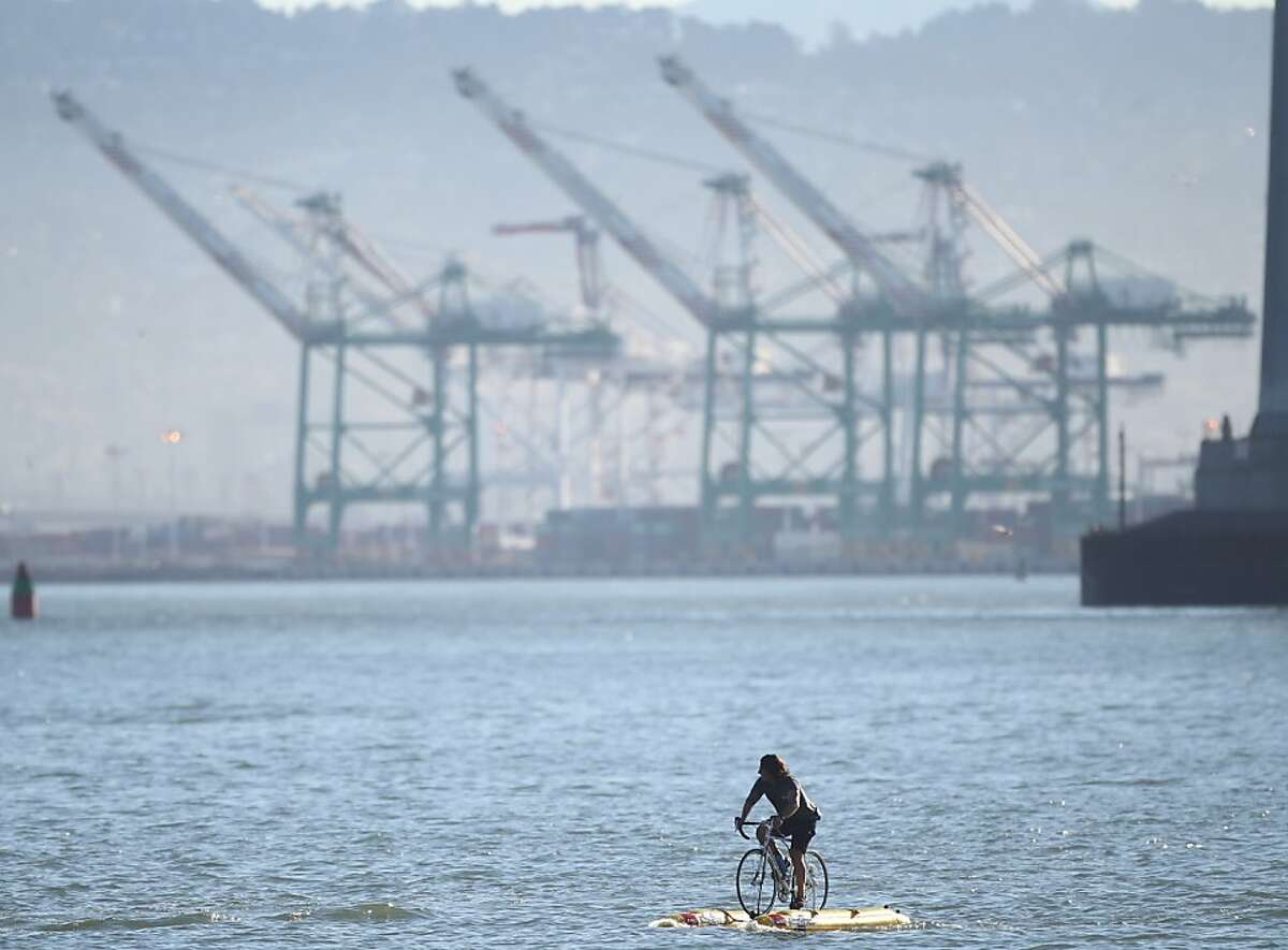 Judah Schiller, Founder of BayCycle Project, makes the first crossing of San Francisco Bay on a water bike to promote alternative transportation for cyclists on Friday, Sept. 27, 2013. The trip from Port View Park in Oakland to Pier 1 in San Francisco took him less than an hour.