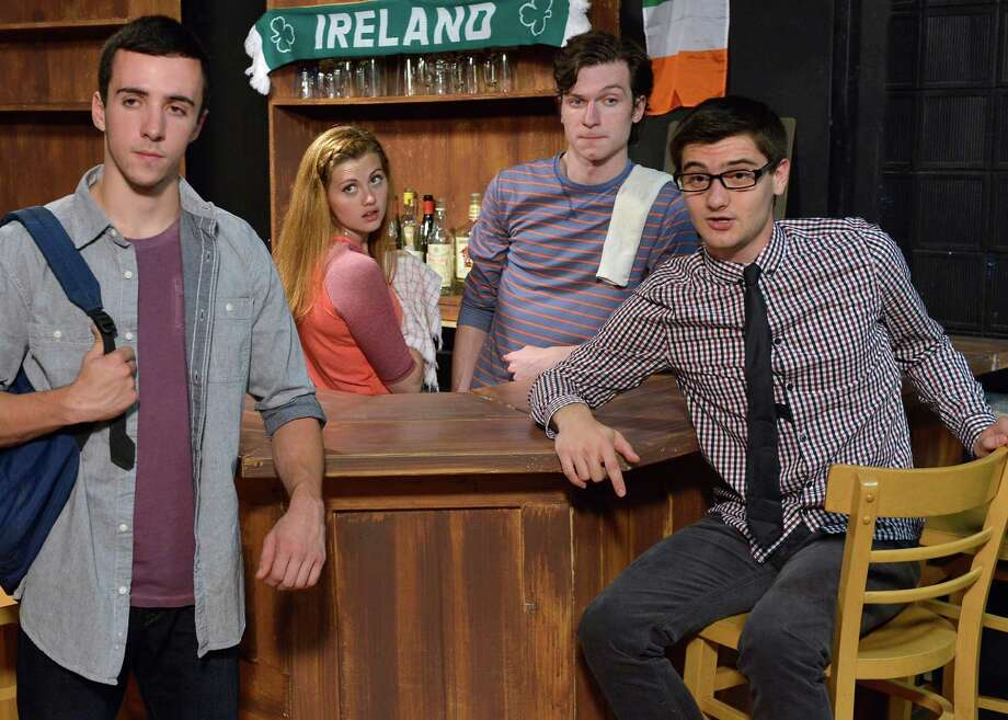 The Western Connecticut State University Department of Theatre Arts is staging âÄúTwo Nights Near Doolin.âÄù  Left to right are cast members Nick Raines, of Brookfield, as Dan DiBella; Brianna Bagley, of Stratford Springs, as Tara Clancy; David Fejes, of New Fairfield, as Sean OâÄôByrne; and Sam Strizver, of Stamford, as Josh Bernstein. Performances are in the Reimold Theatre in Berkshire Hall on the midtown campus at 181 White St. in Danbury. Shows are at 7 p.m. on Wednesday and Thursday, Oct. 9 and 10; 8 p.m. on Friday, Oct. 11; 2 and 8 p.m. on Saturday, Oct. 12; 2 p.m. on Sunday, Oct. 13; 8 p.m. on Friday, Oct. 18; noon and 8 p.m. on Saturday, Oct. 19; and 2 p.m. on Sunday, Oct. 20. Tickets are $20 for adults, $15 for seniors and students, and $10 for faculty and staff, plus ticketing fees, and are available at www.wcsu.edu/tickets or by calling 203-837-TIXX. Photo: Contributed Photo
