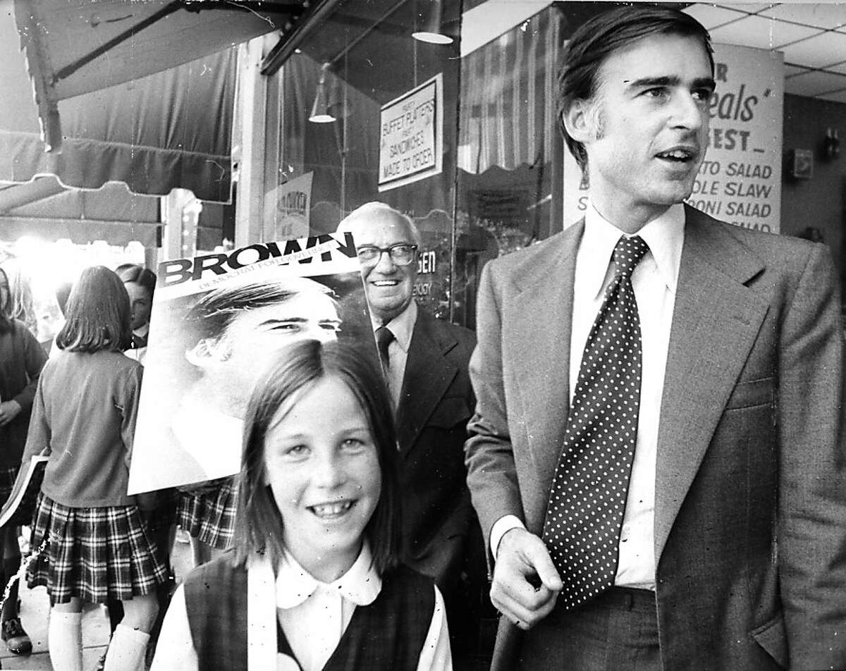 Oct. 16, 1974: Jerry Brown with one of his nieces on the campaign trail, two weeks before he was elected governor of California for the first time.
