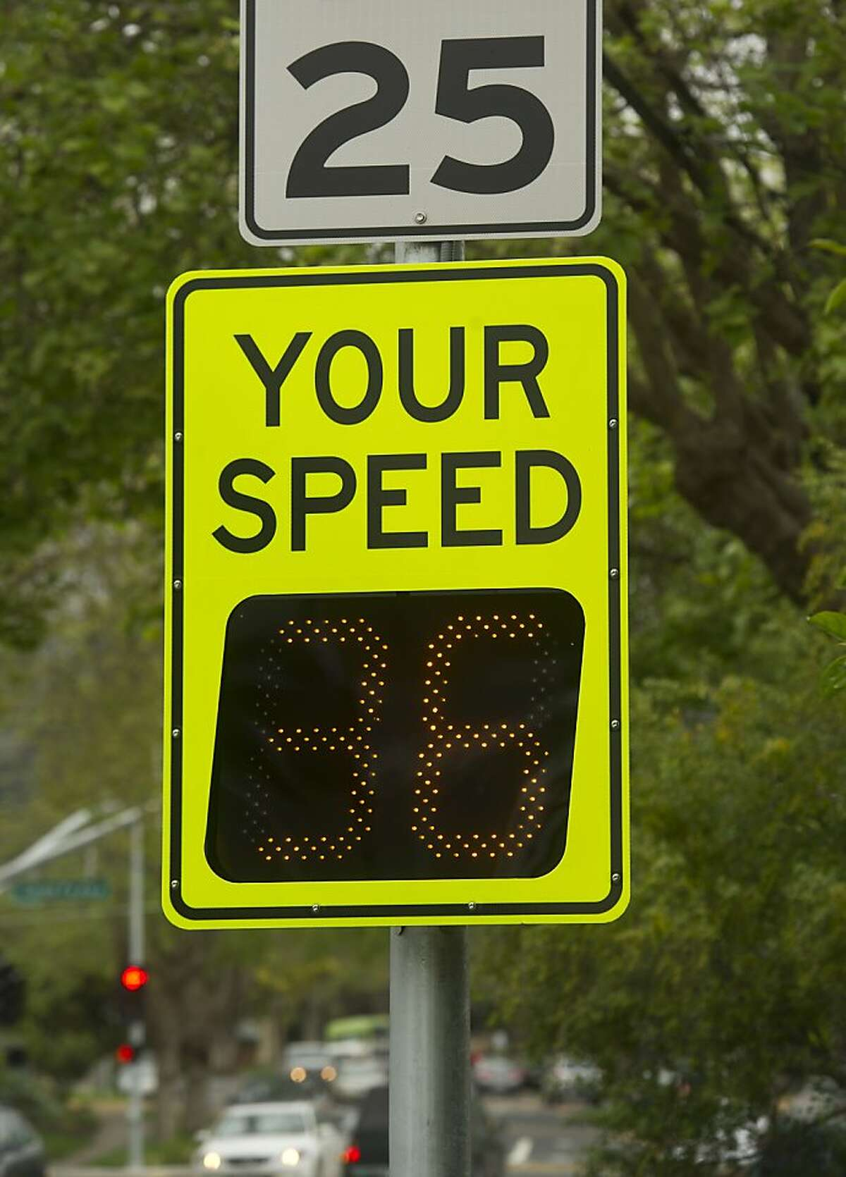 A sign displays a motorist's speed on Thursday, March 28, 2013, in Berkeley, Calif.