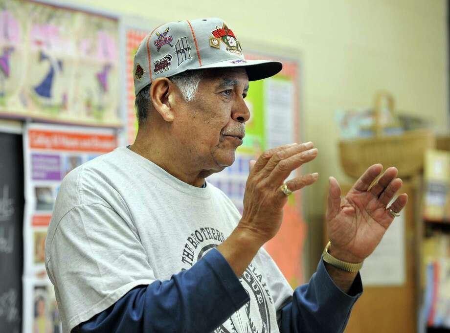 Gilbert Black, of Danbury, Conn., speaks to an eighth-grade class at St. Gregory the Great School in Danbury, Monday, Sept. 23, 2013, about Satchel Paige and his own personal experience playing in the Negro baseball leagues. Photo: Carol Kaliff / The News-Times