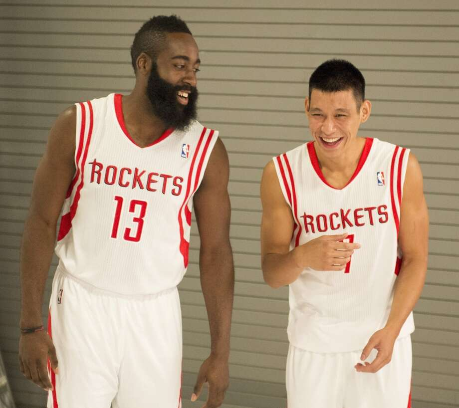 James Harden, left, and Jeremy Lin share a laugh. Photo: George Bridges, MCT