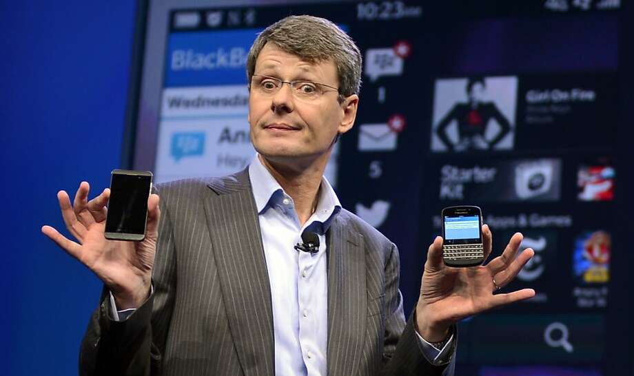 BlackBerry's efforts to sell itself were abandoned in early November when Fairfax Financial Holdings walked away from a $4.7 billion bid, instead opting to raise $1 billion in convertible funds. Shares of the company fell 16 percent after that news. CEO Thorsten Heins, pictured, was fired, while John Chen became interim CEO. BlackBerry announced the departure of three other senior executives on Nov. 25. The company reported a $4.4 billion loss in the third quarter. Photo: Timothy A. Clary, AFP/Getty Images