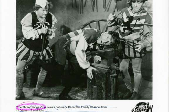 Stooges Larry, left, and Moe, right, beat up on Shemp. Shemp Howard (aka Samuel Horwitz) returned to the act after Curly fell ill. Who is your favorite? Leave an answer at houstonchronicle.com/hoffman.
