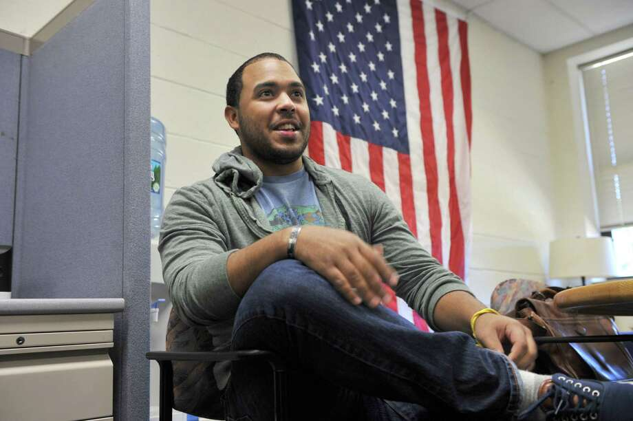 Joshua Rodriguez, 24, of Danbury, Conn., an Army veteran of the war in Afghanistan, is president of Western Connecticut State University Student Veterans' Association. Photo: Carol Kaliff / The News-Times
