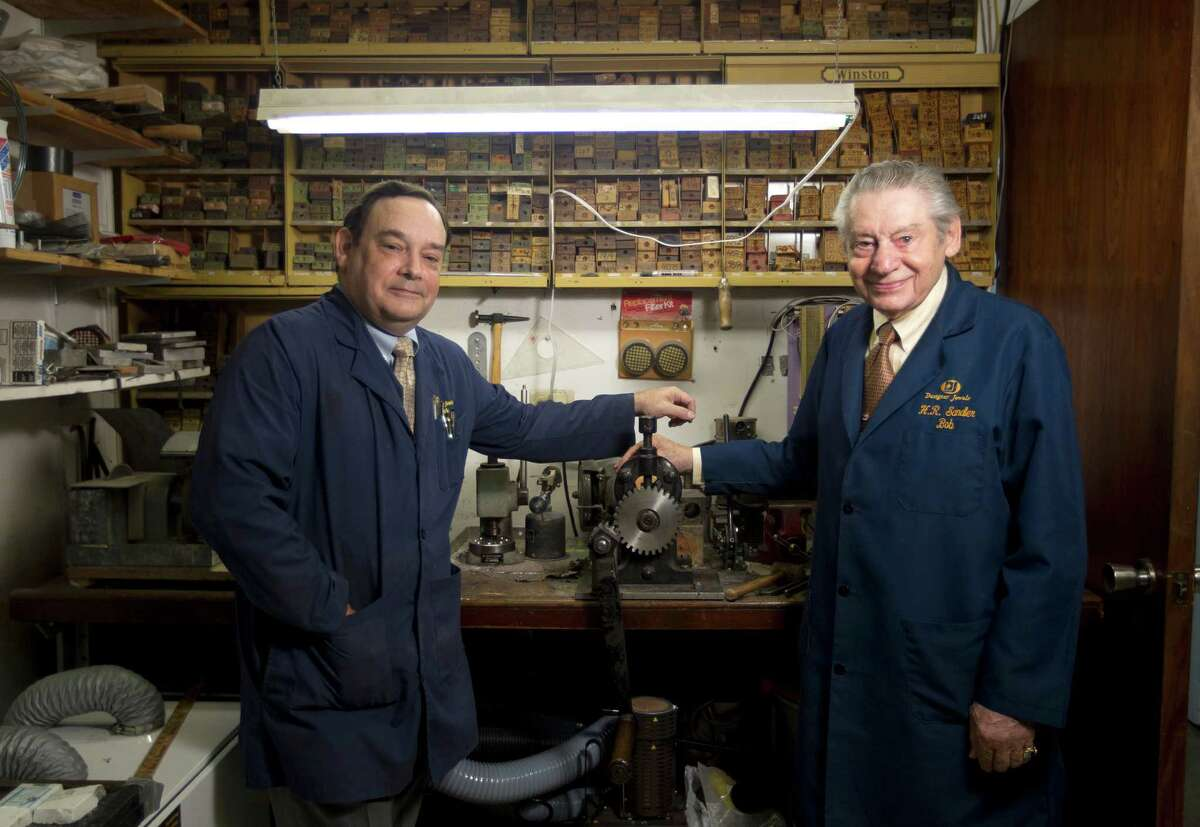 Bob Sandler, left, and his son Mark, are third- and fourth-generation jewelry makers. Their business is near the Galleria.
