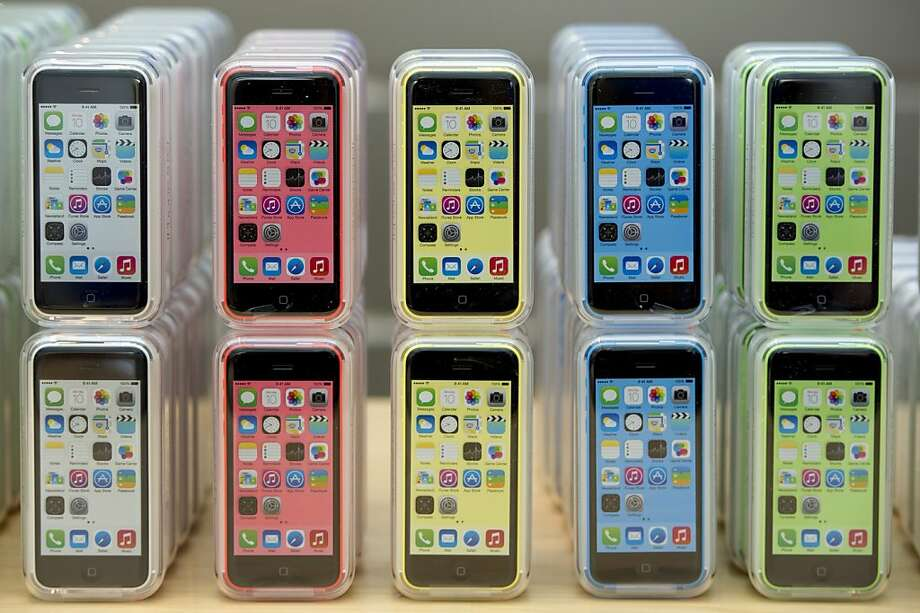 The colorful new iPhone 5C is Apple's cheapest iPhone to date, costing $99 for a 16-gigabyte model. Photo: David Paul Morris, Bloomberg