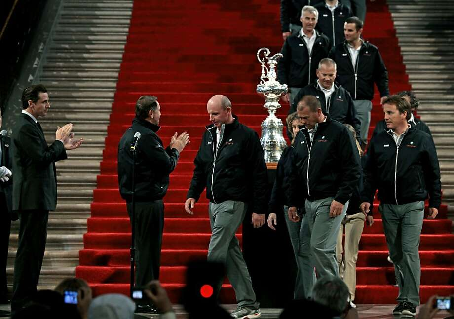 The America's Cup team will get a City Hall celebration like the reception it received after claiming the trophy in Spain three years ago, but debate will go on over whether the regatta should return. Photo: Lance Iversen, The Chronicle