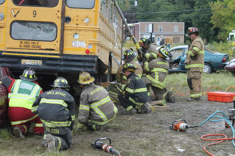 Forty-eight firefighters from several Capital Region fire departments participated in a heavy equipment rescue drill on Sunday at the Corellis Property, Columbia Turnpike, East Greenbush. (Submitted photo)