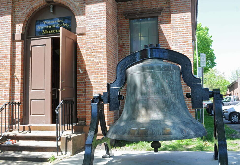 The bell from St. Patrick's Church is on display in front of the Watervliet Historical Society Museum on Tuesday, May 7, 2013 in Watervliet, N.Y. The over 7000 pound bell was cast in 1906 at Meneely & Co. which used to be just across the street from this museum. (Lori Van Buren / Times Union)