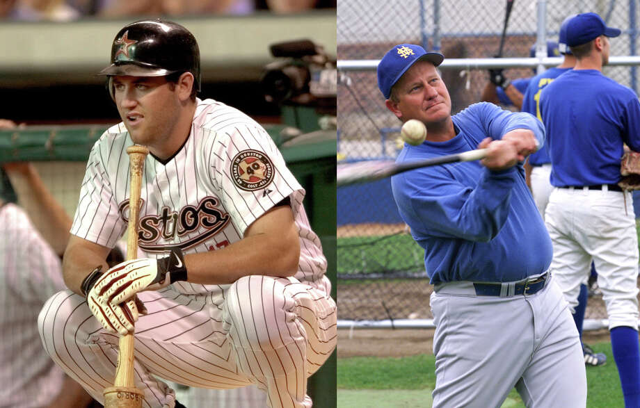 Berkman (left), the former New Braunfels Canyon High School star, ripped through major-league pitching in 2001,  hitting .331 with 34 home runs and a National League-high 55 doubles. Migl (right) coached the St. Mary's University baseball team to a NCAA Division II National Champions title. Photo: LEFT: Pat Sullivan / Associated Press, RIGHT: Tom Reel / San Antonio Express-News