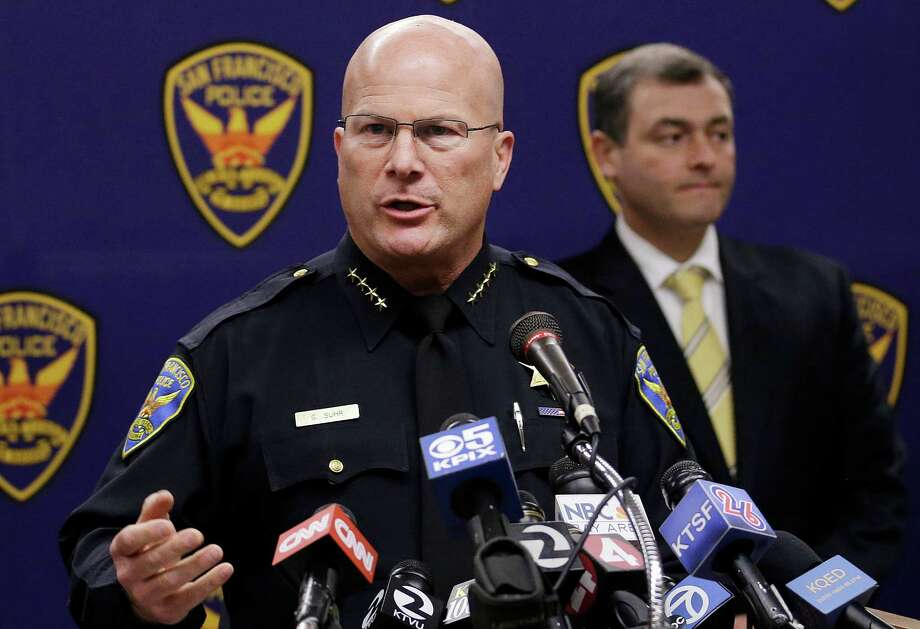 San Francisco Police Chief Greg Suhr speaks at a news conference in San Francisco, Thursday, Sept. 26, 2013. Police arrested two people in the fatal stabbing of a Los Angeles Dodgers baseball fan during a fight near San Francisco's AT&T Park after the Giants' 6-4 win over the Dodgers, Suhr said. (AP Photo/Jeff Chiu) ORG XMIT: CAJC101 Photo: Jeff Chiu / AP