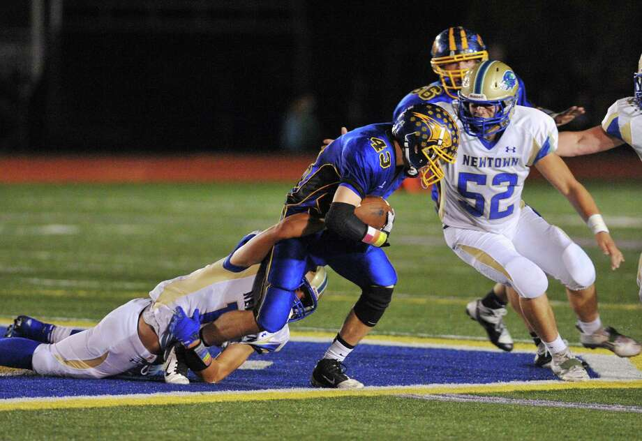 Photos from the SWC high school football game between Brookfield and Newtown at Brookfield High School in Brookfield, Conn. on Friday, Sept. 27, 2013. Photo: Tyler Sizemore / The News-Times