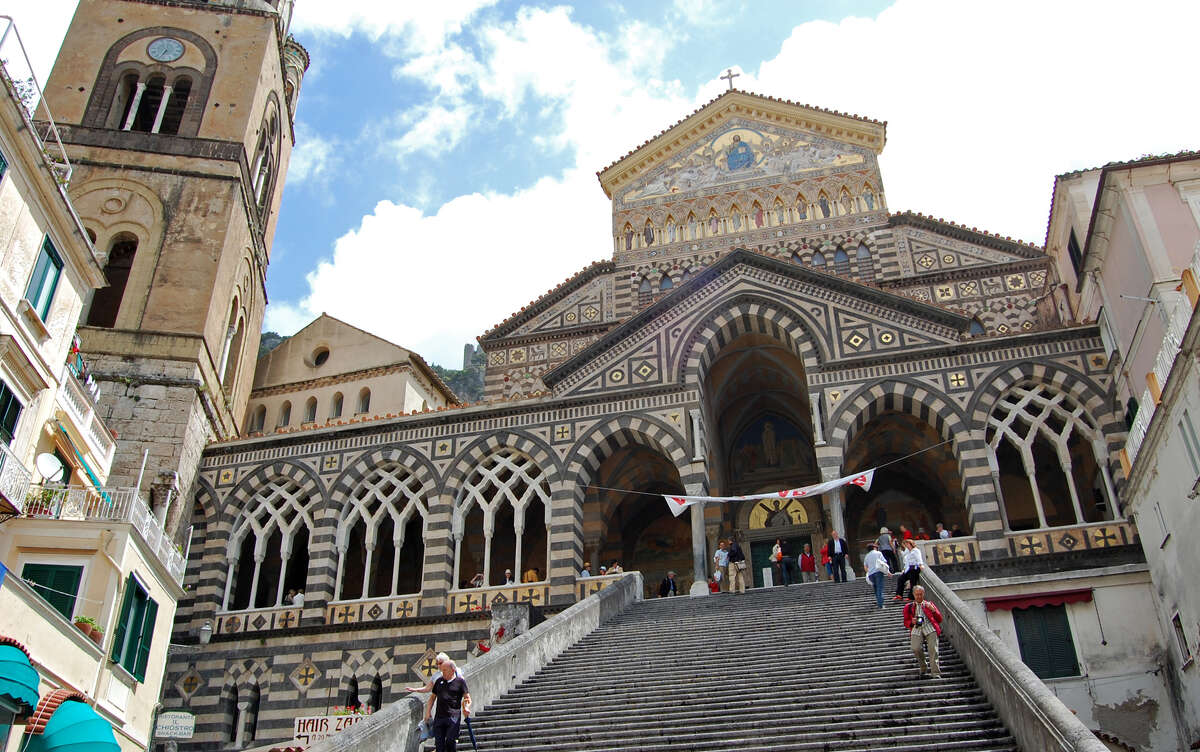 An imposing stairway leads to Amalfi's grand cathedral. (photo: Rick Steves)