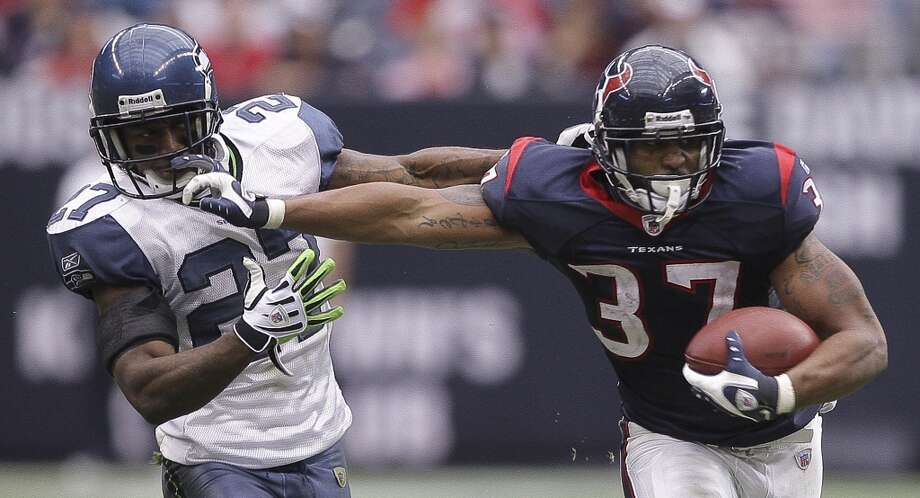 But first ... the last time they met:  Dec. 13, 2009: Seahawks 7, at Texans 34  It's been four years since the Seahawks last played the Texans, and on Dec. 13, 2009, they got blown out in Houston. Texans receiver Andre Johnson had 11 receptions for 193 yards and two touchdowns, and quarterback Matt Schaub was 29-for-39 with 365 passing yards, as they dispatched of the Seahawks 34-7. Seattle held running back Arian Foster (pictured at right) to just 34 yards on 13 carries, and gave up just 43 yards on 10 attempts to backup Ryan Moats, but the Hawks didn't show up on offense. Seahawks QB Matt Hasselbeck recovered three of his own fumbles and was also sacked three times in the contest, but he did go 24-for-35 with a touchdown and an interception, spreading 247 passing yards among five receivers. Seattle's big downfall was having no running game.  Now, the Seahawks are an entirely different team. Houston, not so much, still led by Schaub, Foster and Johnson on offense. Yet while Seattle has improved in leaps and bounds on both sides of the ball, so has Houston on defense, developing into one of the best defensive teams in the league -- particularly with the 2011 draft selection of defensive end J.J. Watt. We'll get to that in a bit. Photo: Bob Levey, Getty Images